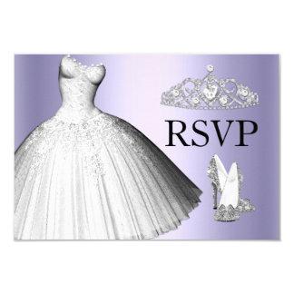 Sparkle Glitter Dress & Heels Quinceanera RSVP 9 Cm X 13 Cm Invitation Card