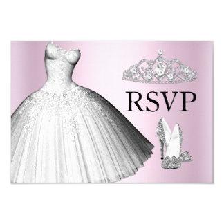 Sparkle Glitter Dress & Heels Quinceanera RSVP Invitation Card