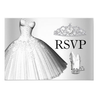 Sparkle Glitter Dress & Heels Quinceanera RSVP Customized Announcement Card