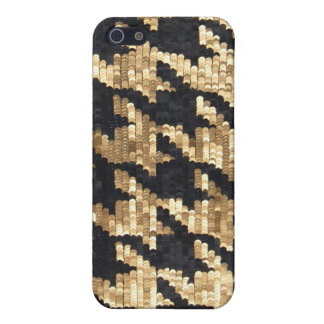 Sparkle Glitter Gold Bling Houndstooth Case For iPhone 5