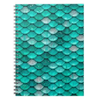 Sparkle Glitter Green Aqua Mermaid Scales Notebook