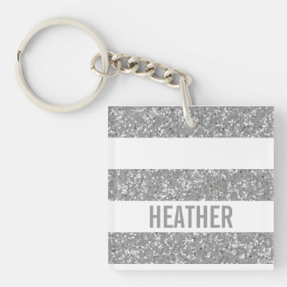 Sparkle Glitter Look Stripes Acrylic Keychain