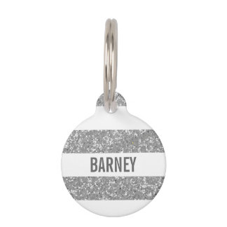 Sparkle Glitter Look Stripes Dog Tag
