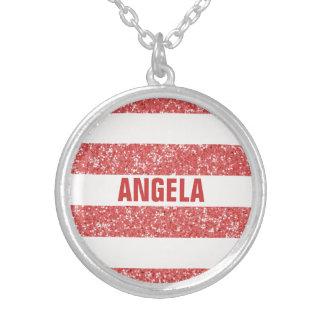 Sparkle Glitter Look Stripes Necklace