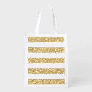 Sparkle Glitter Look Stripes Reusable Grocery Bag