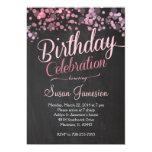 Sparkle Glitter  Pink Birthday Invitation