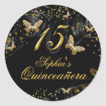Sparkle Gold & Black Butterfly Quinceanera Sticker