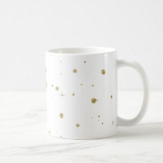Sparkle Gold Faux Glitter Basic White Mug