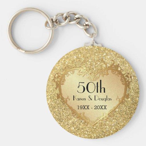 Sparkle Gold Heart 50th Wedding Anniversary Keychains
