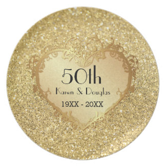 Sparkle Gold Heart 50th Wedding Anniversary Party Plate