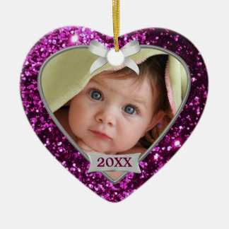 Sparkle Hearts (pink/silver) Photo Ornament