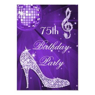 Sparkle Heels Purple Disco Ball 75th Birthday 13 Cm X 18 Cm Invitation Card