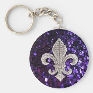 Sparkle jewel Fleur De Lis Sequins Purple Basic Round Button Key Ring