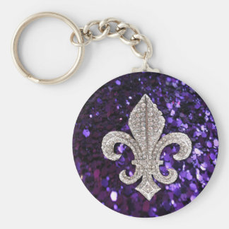 Sparkle jewel Fleur De Lis Sequins Purple Key Ring