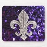 Sparkle jewel Fleur De Lis Sequins Purple Mousepads
