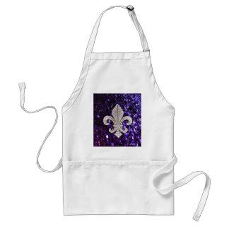 Sparkle jewel Fleur De Lis Sequins Purple Standard Apron