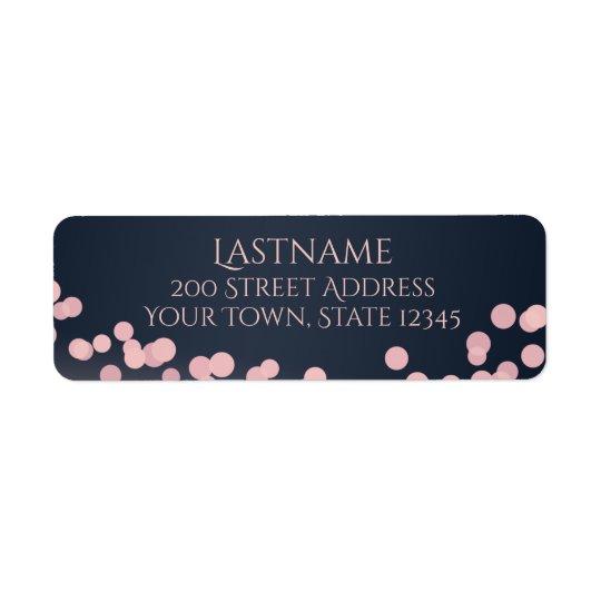 Sparkle Lights Pink and Navy Blue Address Return Address Label