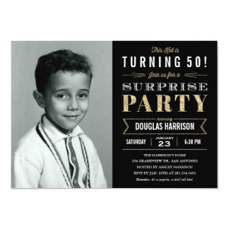 Sparkle Old Picture Surprise Birthday Invitations