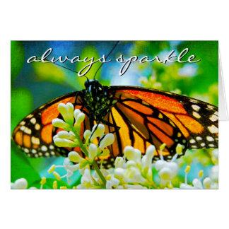 """Sparkle"" orange butterfly photo blank inside card"