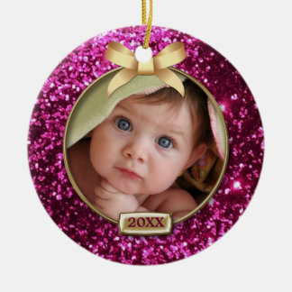 Sparkle Pink Gold Bow Photo Christmas Ornaments