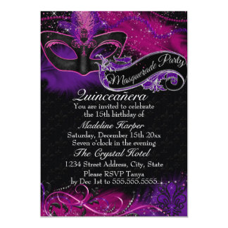 Sparkle Pink & Purple Mask Masquerade Quinceanera 13 Cm X 18 Cm Invitation Card