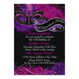 Sparkle Pink & Purple Mask Masquerade Quinceanera 13 Cm X 18 Cm Invitation Card
