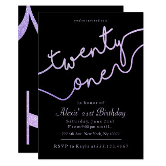 Sparkle, Purple Glitter 21st Birthday Invitations
