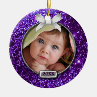 Sparkle Purple Silver Bow Photo Ornaments