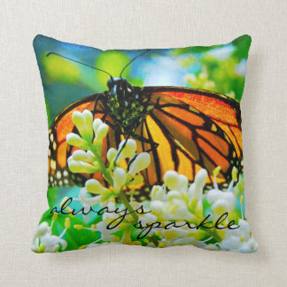 """Sparkle"" Quote Orange Monarch Butterfly Photo Cushion"