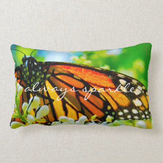 """Sparkle"" Quote Orange Monarch Butterfly Photo Lumbar Cushion"