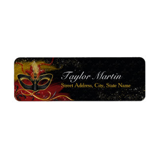Sparkle Red & Gold Feather Mask Address Labels