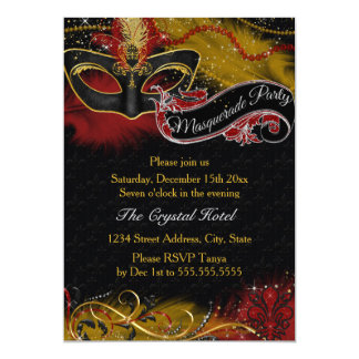 Sparkle Red & Gold Feather Mask Masquerade Invite