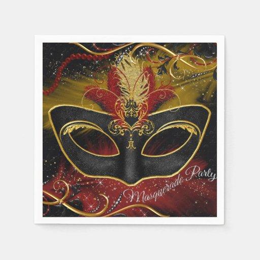 Sparkle Red & Gold Feather Mask Masquerade Napkin Paper Napkin