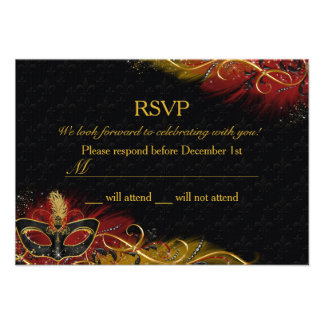 Sparkle Red Gold Feather Mask Masquerade RSVP Invitations