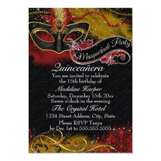 Sparkle Red & Gold Mask Masquerade Quinceanera 13 Cm X 18 Cm Invitation Card