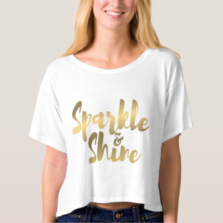 sparkle shine gold brush metal effect t shirt