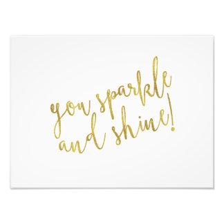 Sparkle Shine Quote Faux Gold Foil Glitter Photo Print