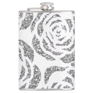 Sparkle Silver Grey Roses on White Flask 8oz Flask