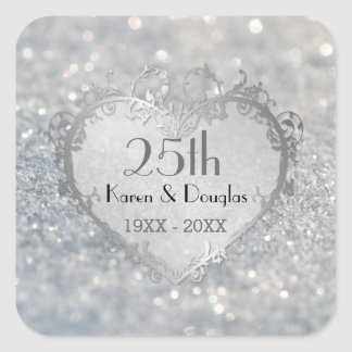 Sparkle Silver Heart 25th Wedding Anniversary Square Sticker