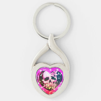 SPARKLE SKULL HEART Silver-Colored TWISTED HEART KEY RING