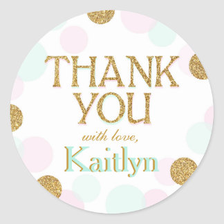 Sparkle Sprinkle Dots Thank You Label Round Sticker