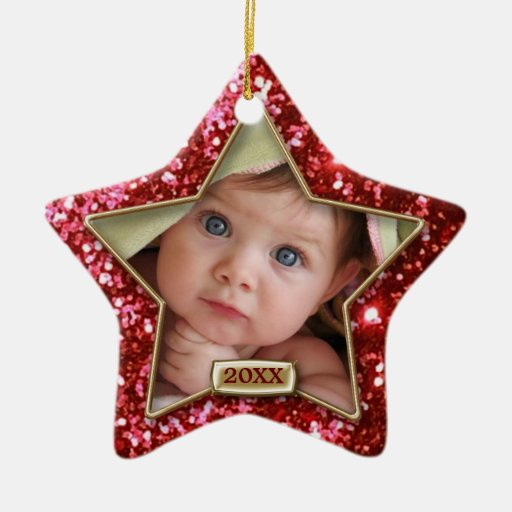Sparkle Star Red/Gold Photo Ornament