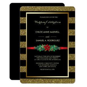 Sparkle Stripe Christmas Poinsettia Wedding Invite