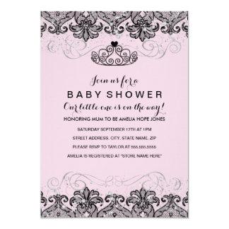 Sparkle Tiara Damask Girl Baby Shower Invite