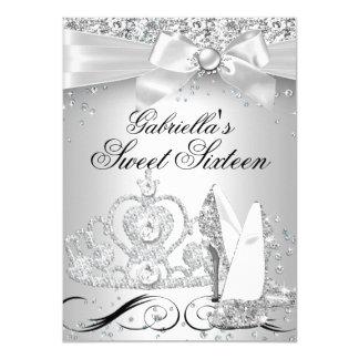 Sparkle Tiara & Heels Silver Sweet 16 Invite