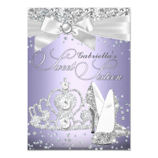 Sparkle Tiara & Heels Sweet Sixteen Purple 11 Cm X 16 Cm Invitation Card
