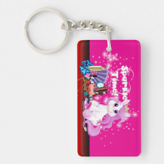 Sparkle Time Double-Sided Rectangular Acrylic Key Ring