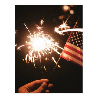 Sparkler & Flag Postcard