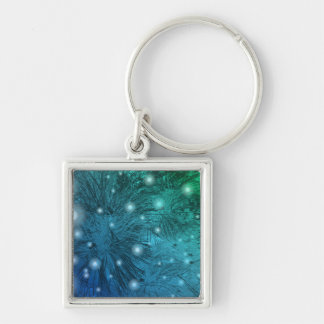 Sparkles and vegetation Silver-Colored square key ring