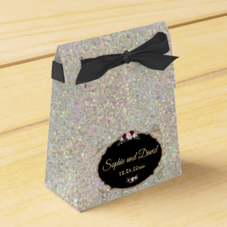 Sparkles Gold Sequins Floral Wedding Favour Box
